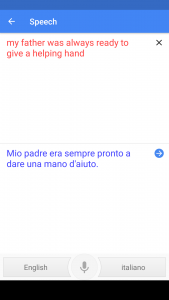 Screencap of Google Translate in action (speech recognition from English to Italian)
