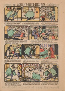 Full-page comic strip with advertisement on verso.
