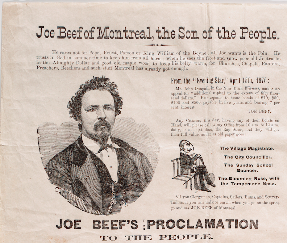 Close up of 'Joe Beef of Montreal, the Son of the People' manifesto.