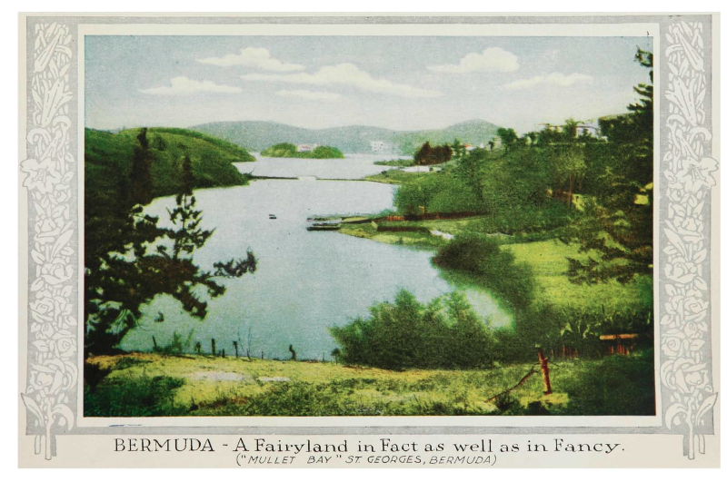 """A Fairyland in Fact as well as in Fancy"" Full colour illustration on page 8 of 'Bermuda, nature's fairy land : official tourists guide book, 1915-16.'"