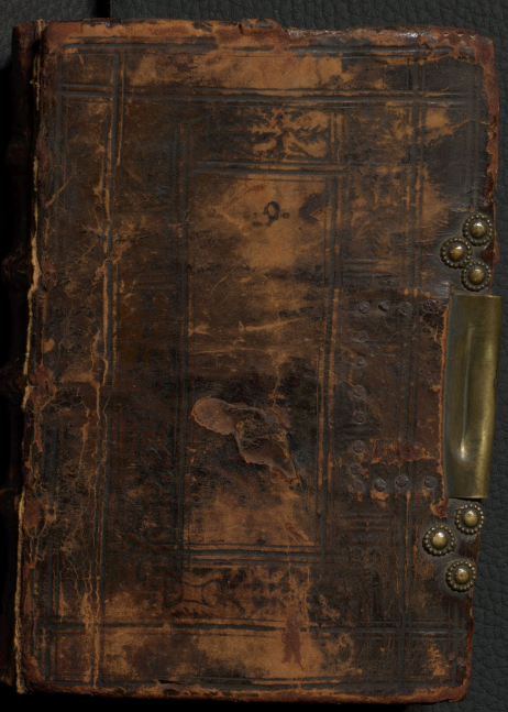 16th century blind-tooled leather binding over wooden boards. Front cover of 'A collection of magical formulae with some Christian prayers'.