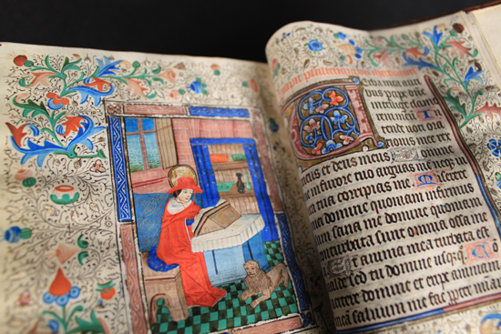 The original, unedited photograph of a Book of Hours, Use of Sarum, Flemish or English, c.1450.