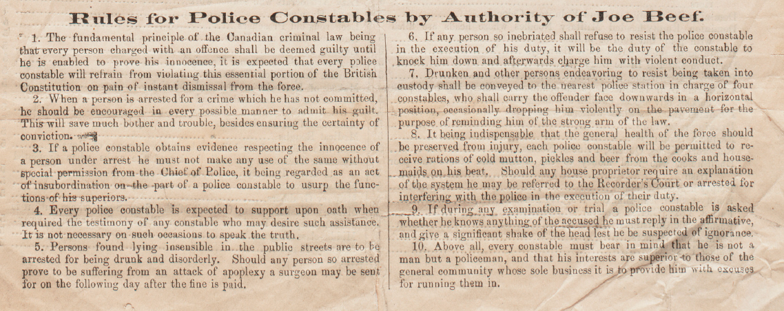 Rules for Police Constables by Authority of Joe Beef.