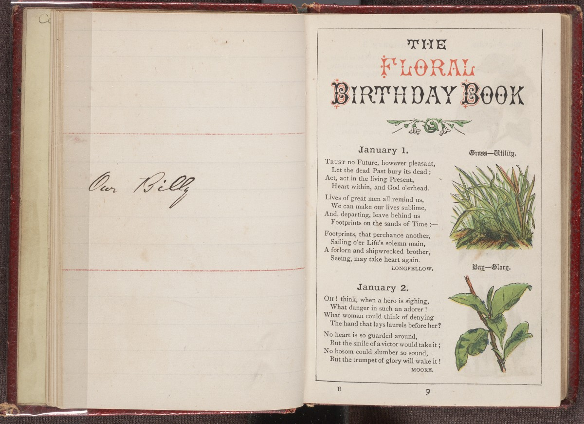 Birthday calendar, first page with inscription on facing page