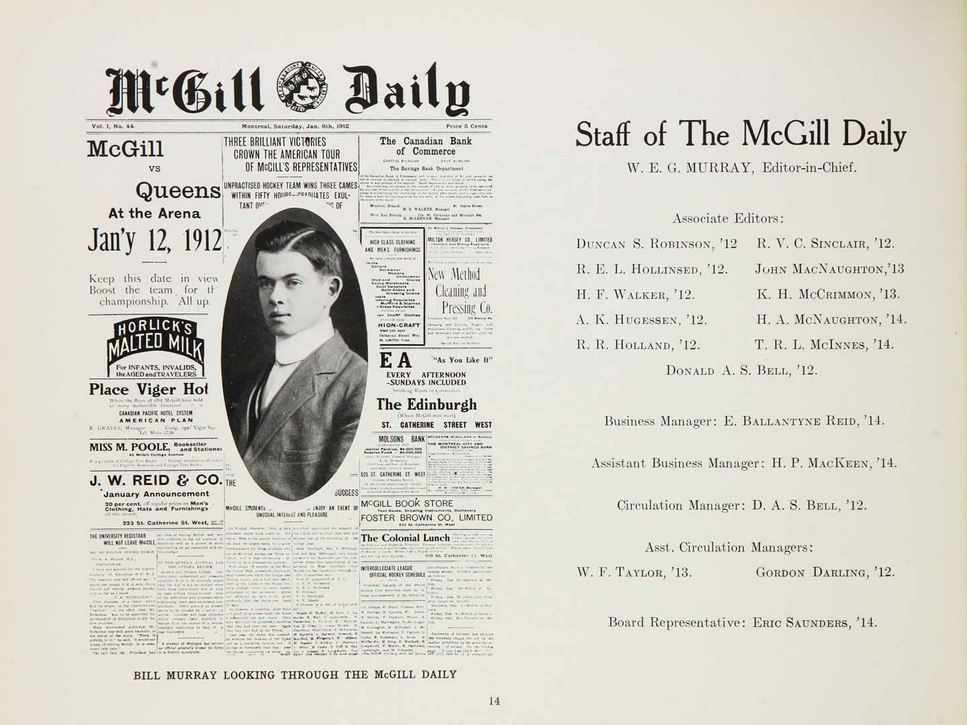 McGill Daily staff page from the 1913 Old McGill Yearbook - Shows a portrait of Bill Murray superimposed over the front page of the McGill Daily issue Vol. 1, No 44, Montreal, Saturday, January 6th 1912
