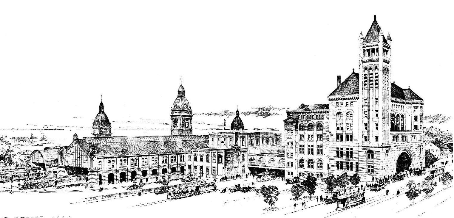 Architectural sketch Union Station, Toronto by architects Strickland & Symons. From The Canadian Architect and Builder, Volume 7 (1894), Issue 9, Plates 2a and 2b