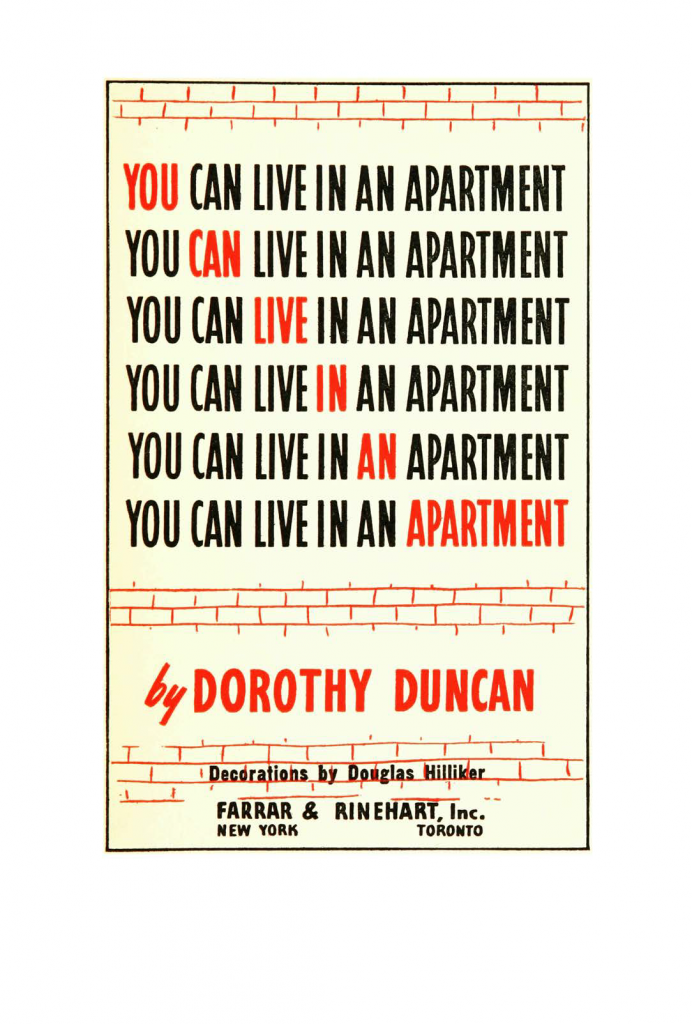 "Title page of ""You can live in an apartment"""