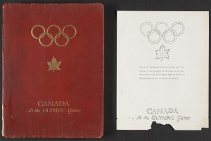Cover and title page of: Canada at the Olympic Games. Canadian Olympic Committee, [1939?]. Pre-publication mock-up copy for the 1940 Olympic Games.
