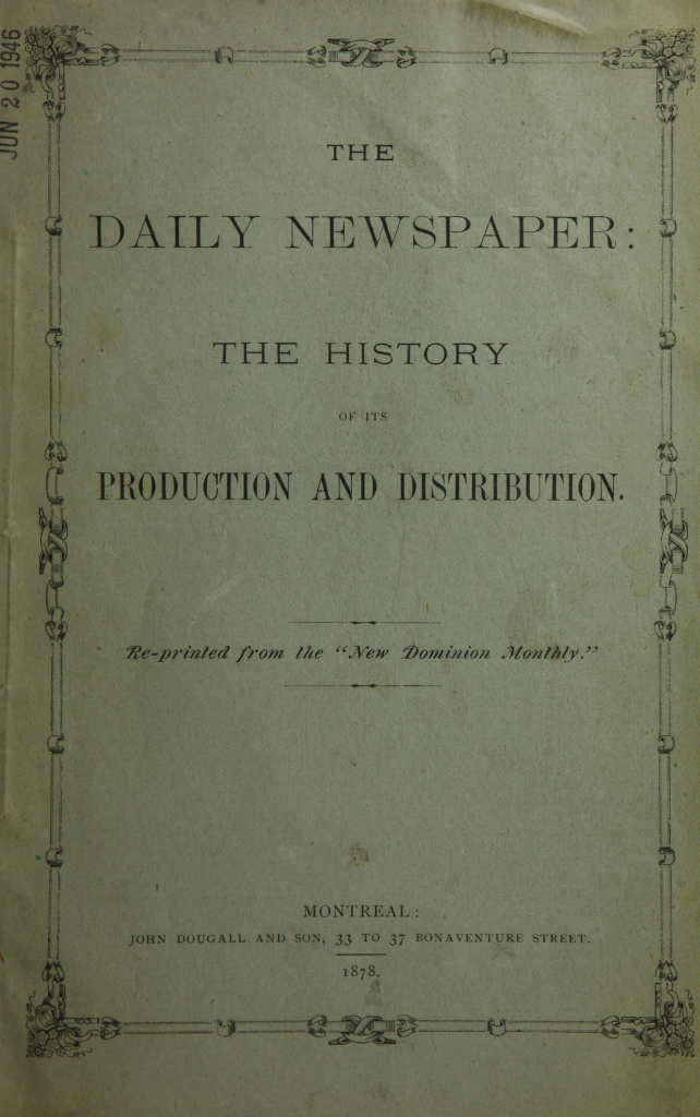 "Front cover of ""The daily newspaper : the history of its production and distribution."""