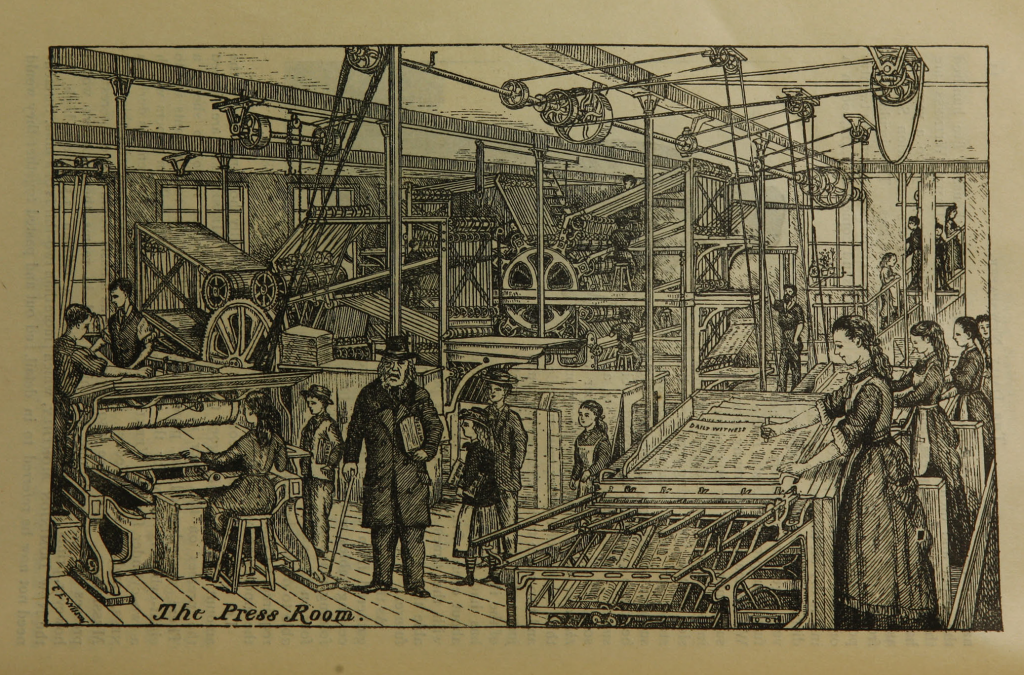 "Illustration on page 13 of ""The daily newspaper : the history of its production and distribution."""