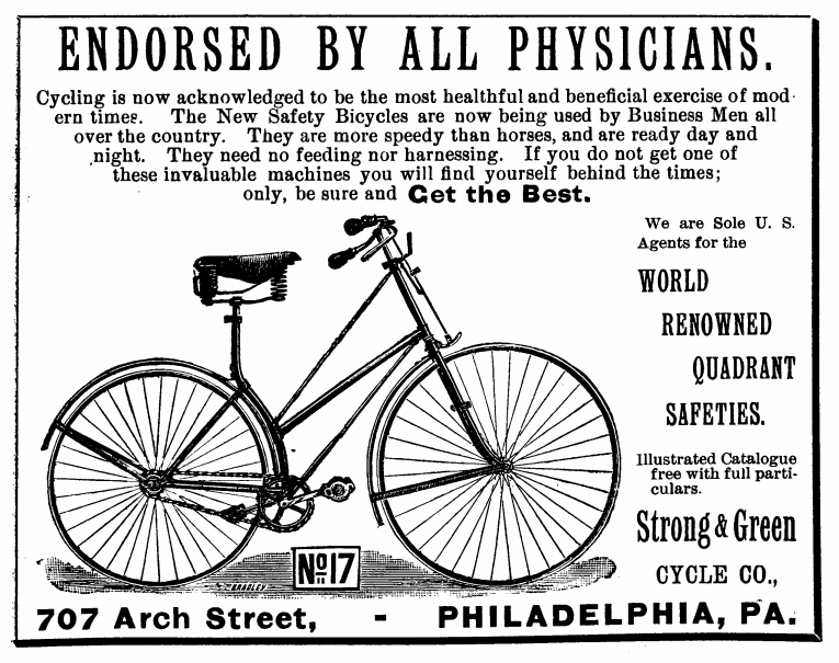 Advertisement found on page 21 of the 1890 edition of the Polk's medical register and directory of North America.