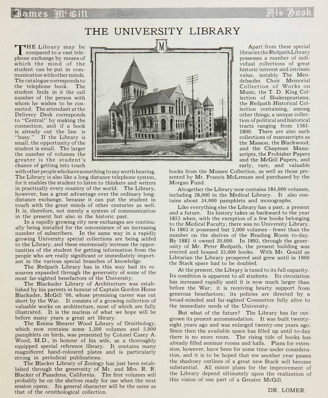 The University Library by Dr. Lorme. Pg 117 of 1922 Old McGill Yearbook.
