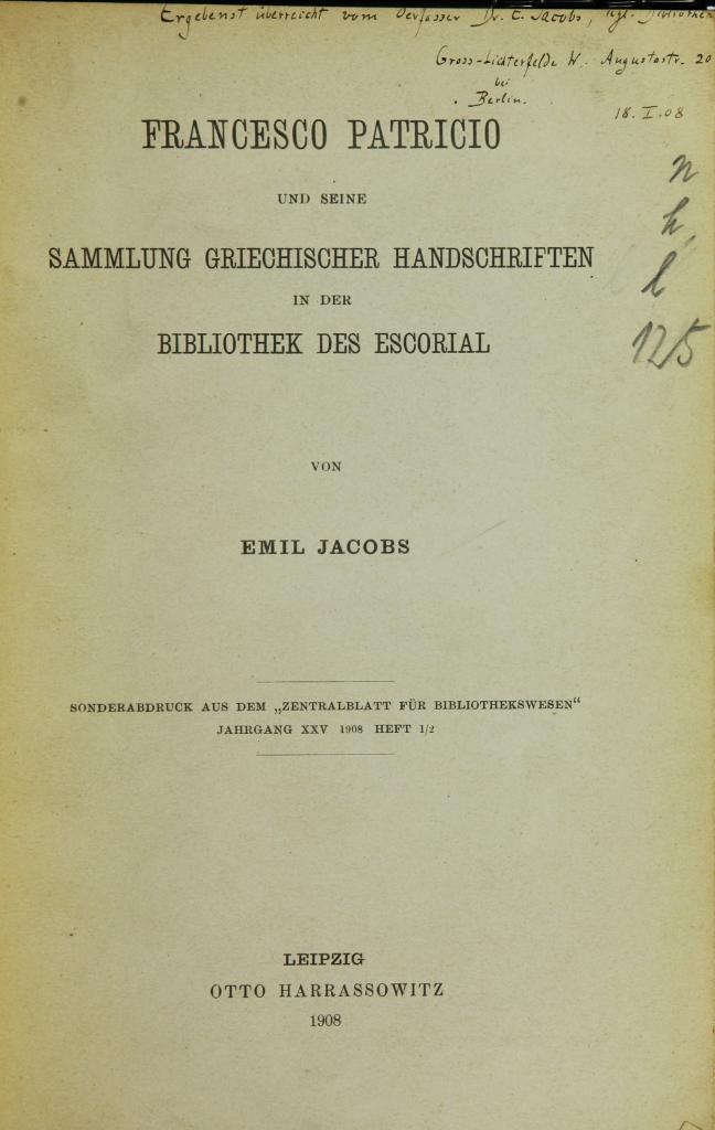 """Title page of """"Francesco Patricio und seine Sammlung [...]"""""""