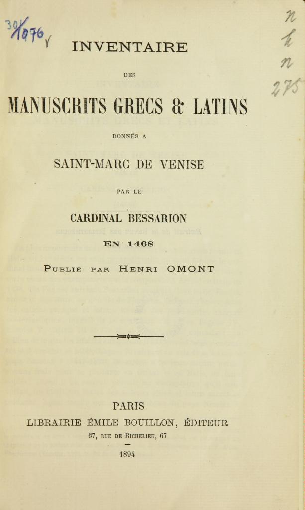 """Title page of """"Inventaire des manuscrits grecs & latins donnés à Saint-Marc de Venise par le cardinal Bessarion en 1468"""""""