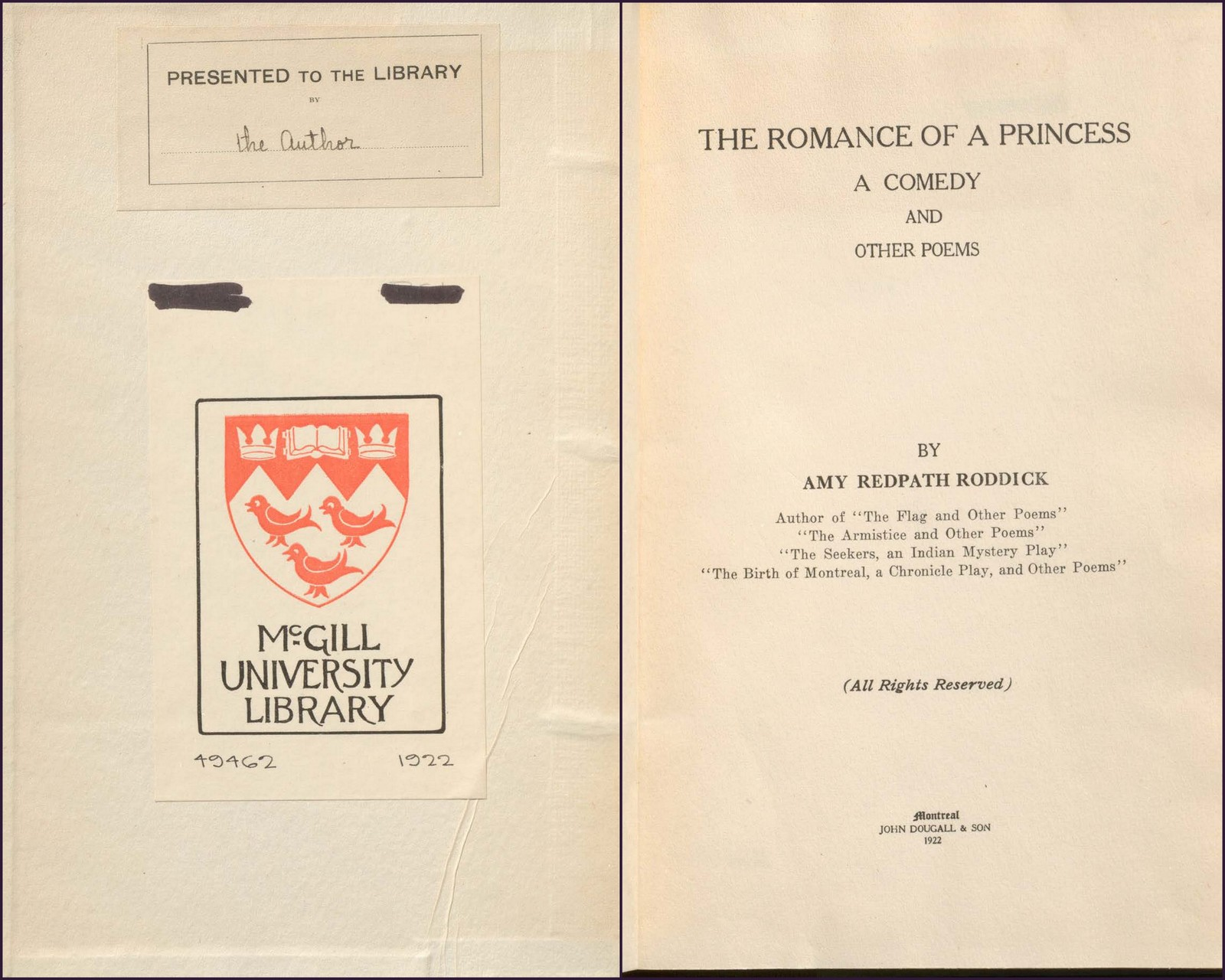 Front inside cover & title page of The romance of a princess : a comedy, and other poems by Amy Redpath Roddick (1922)