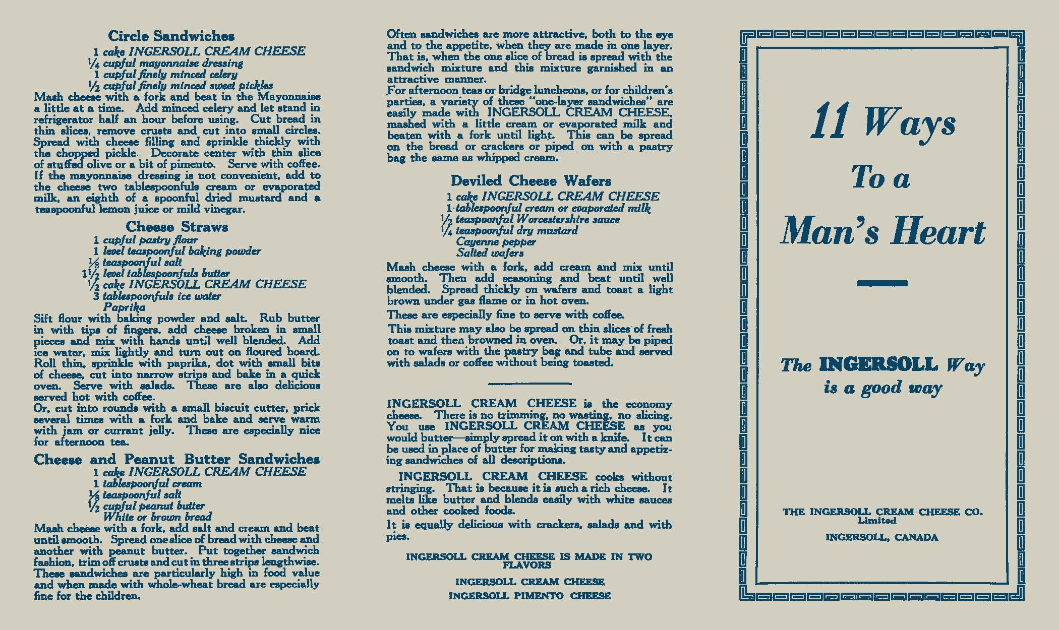 "Front page of The Ingersoll Cream Cheese Co pamphlet ""11 ways to a man's heart.""."