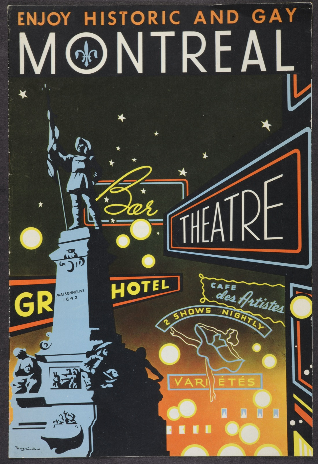Front cover of 'Enjoy historic and gay Montreal' pamphlet published by the Montreal Tourist & Convention Bureau in the 1950s.