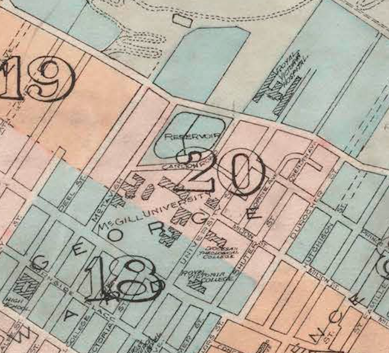 Close of up Plate 18 & 20. City of Montreal key plans showing arrangement of plates. Canada 1912. By Chas. E. Goad Co. Civil Engineers.