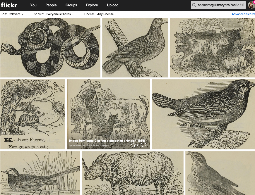 "All of the images from ""An alphabet of animals"" (1865) at https://www.flickr.com/photos/internetarchivebookimages/tags/bookidMcGillLibrary-PN970_S5_A5_1865-2023"
