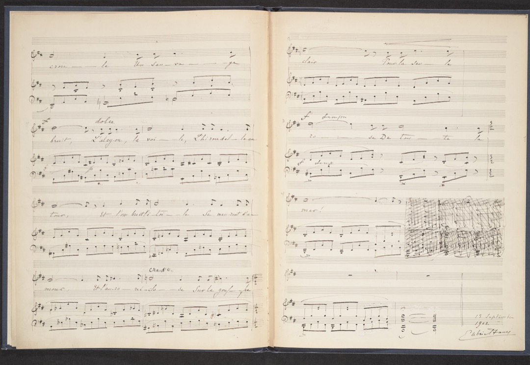 Last two pages of the manuscript music score with Gabriel Fauré's autograph signature, 13 septembre 1902.   Fauré, Gabriel, 1845-1924, composer. La fleur qui va sur l'eau : op. 85, no. 2 / Gabriel Fauré ; [poésie de] Catulle Mendès.  MSG 994 Rare Books & Special Collections, McGill University  - Manuscript Collection