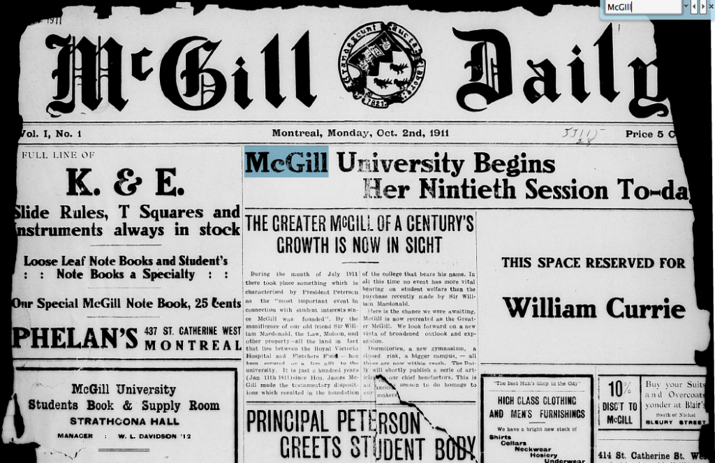 Searching the first issue of the McGill Daily  (1911).