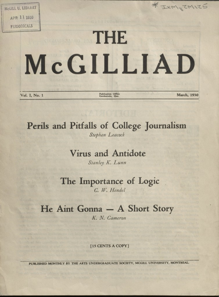 The McGilliad. Vol. 1 no. 1