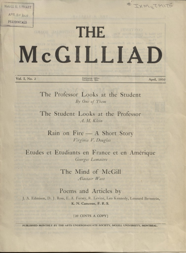 The McGilliad. Vol. 1 no. 2