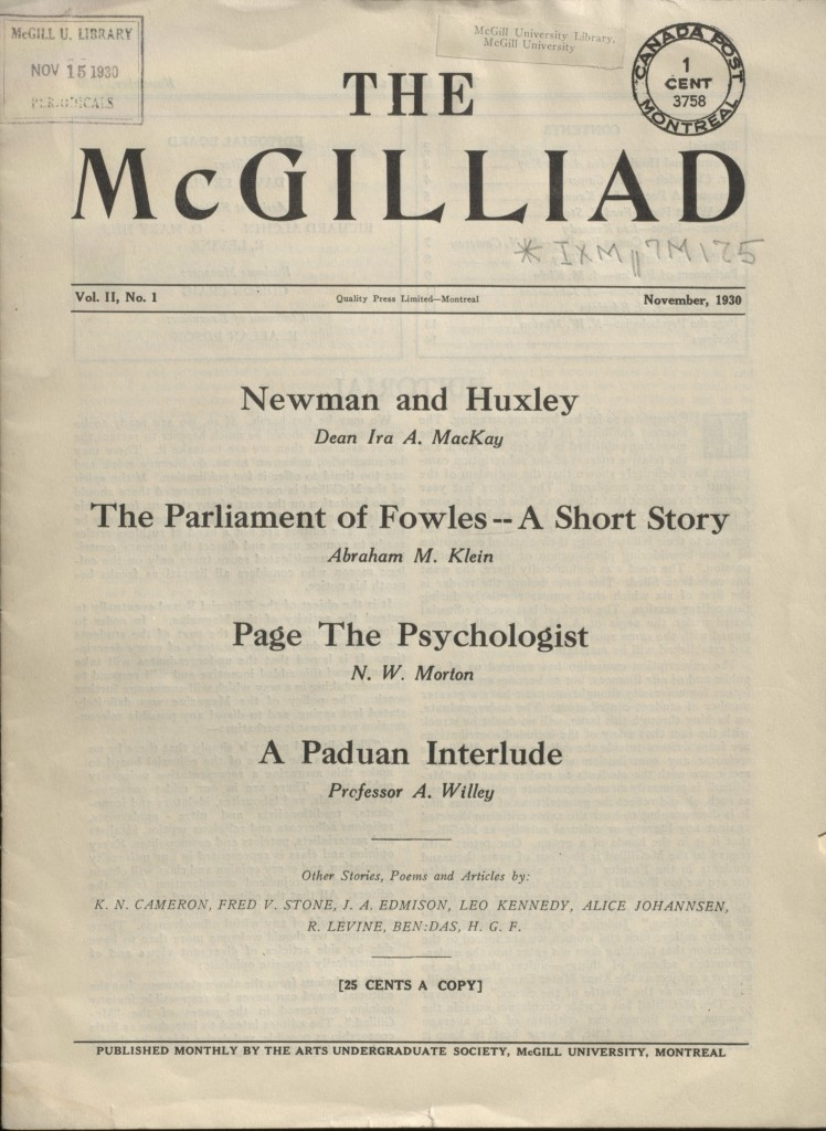 The McGilliad. Vol. 2 no. 1
