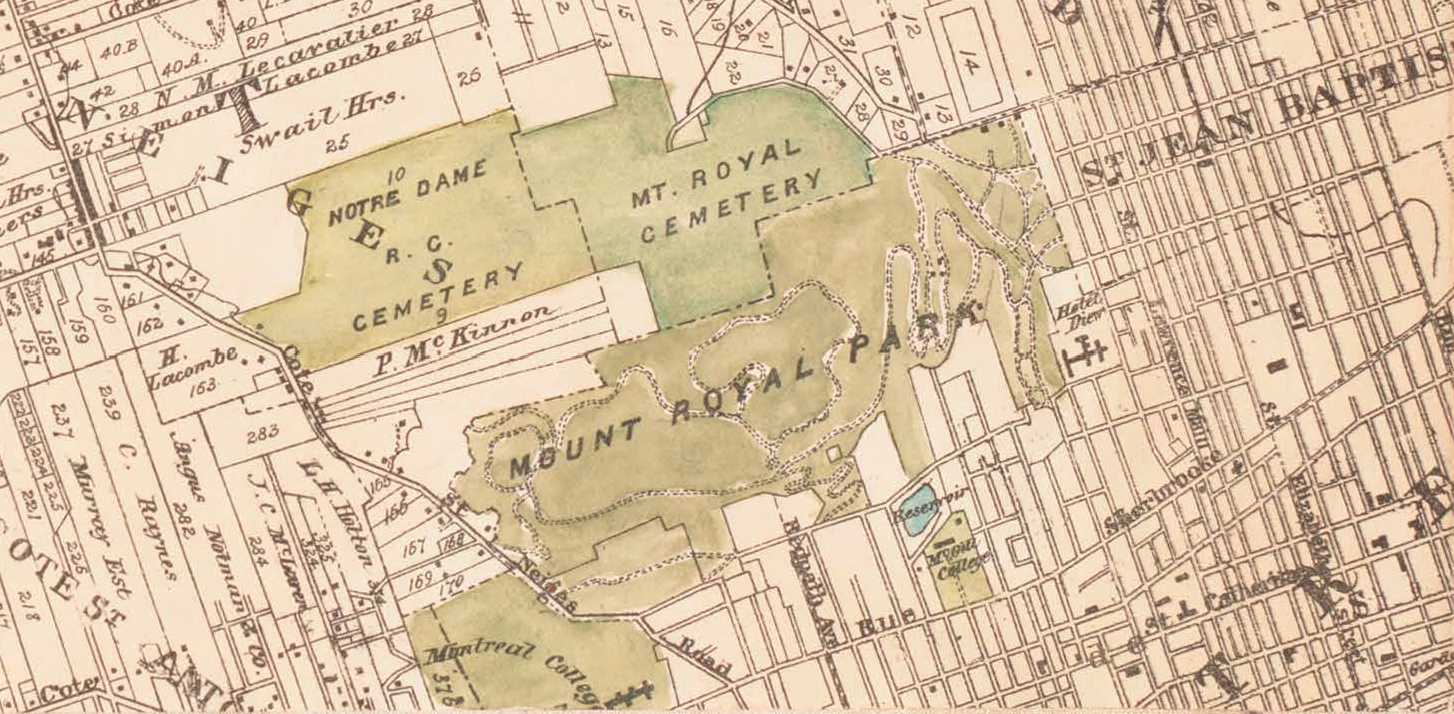 Map of the Island of Montreal prepared by J. Rielle in 1892. Cadastral map showing in detail land owners' homes and locations. Hand coloured.