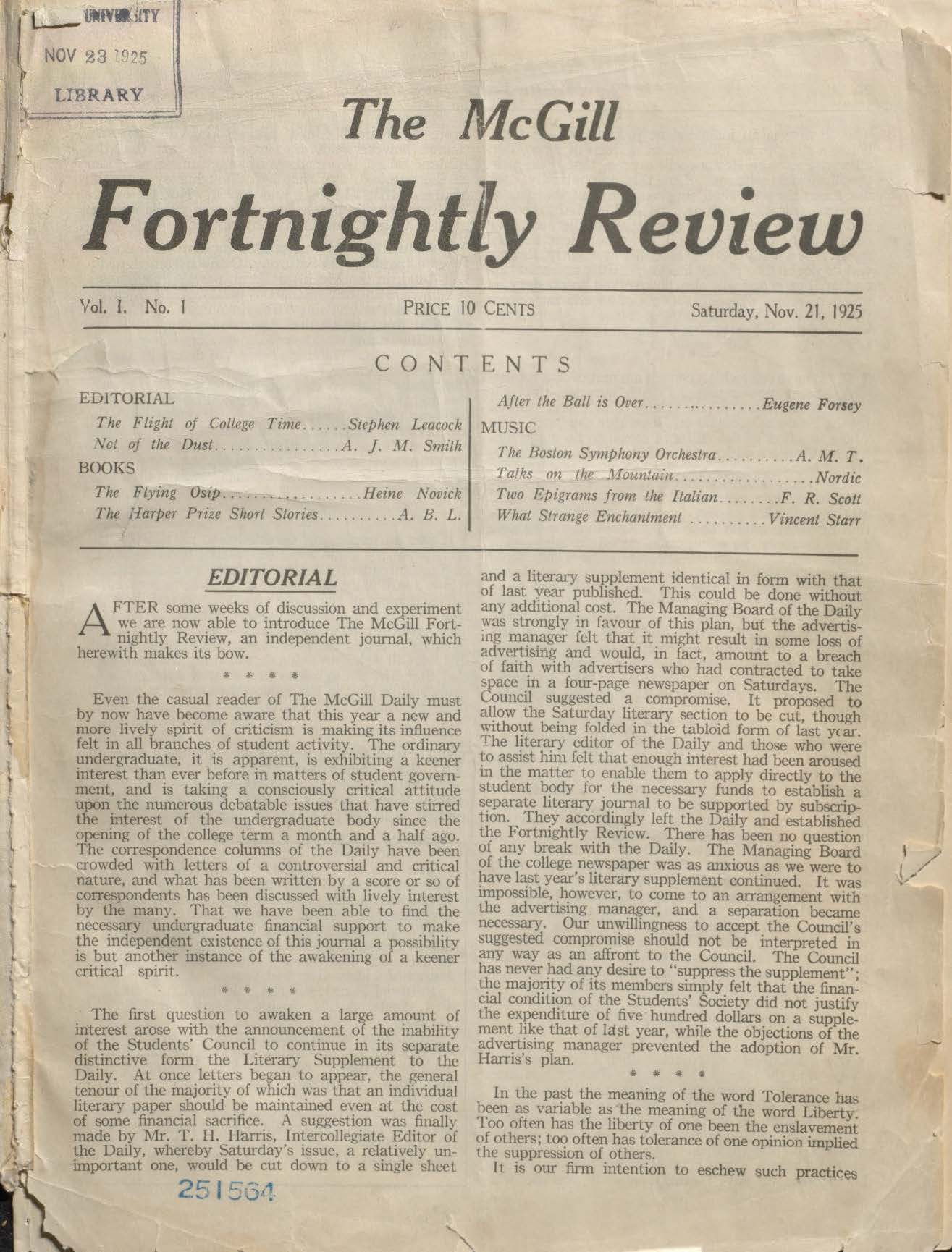 Front page of the The McGill Fortnightly Review first issue from 1925. http://mcgill.worldcat.org/oclc/428073817