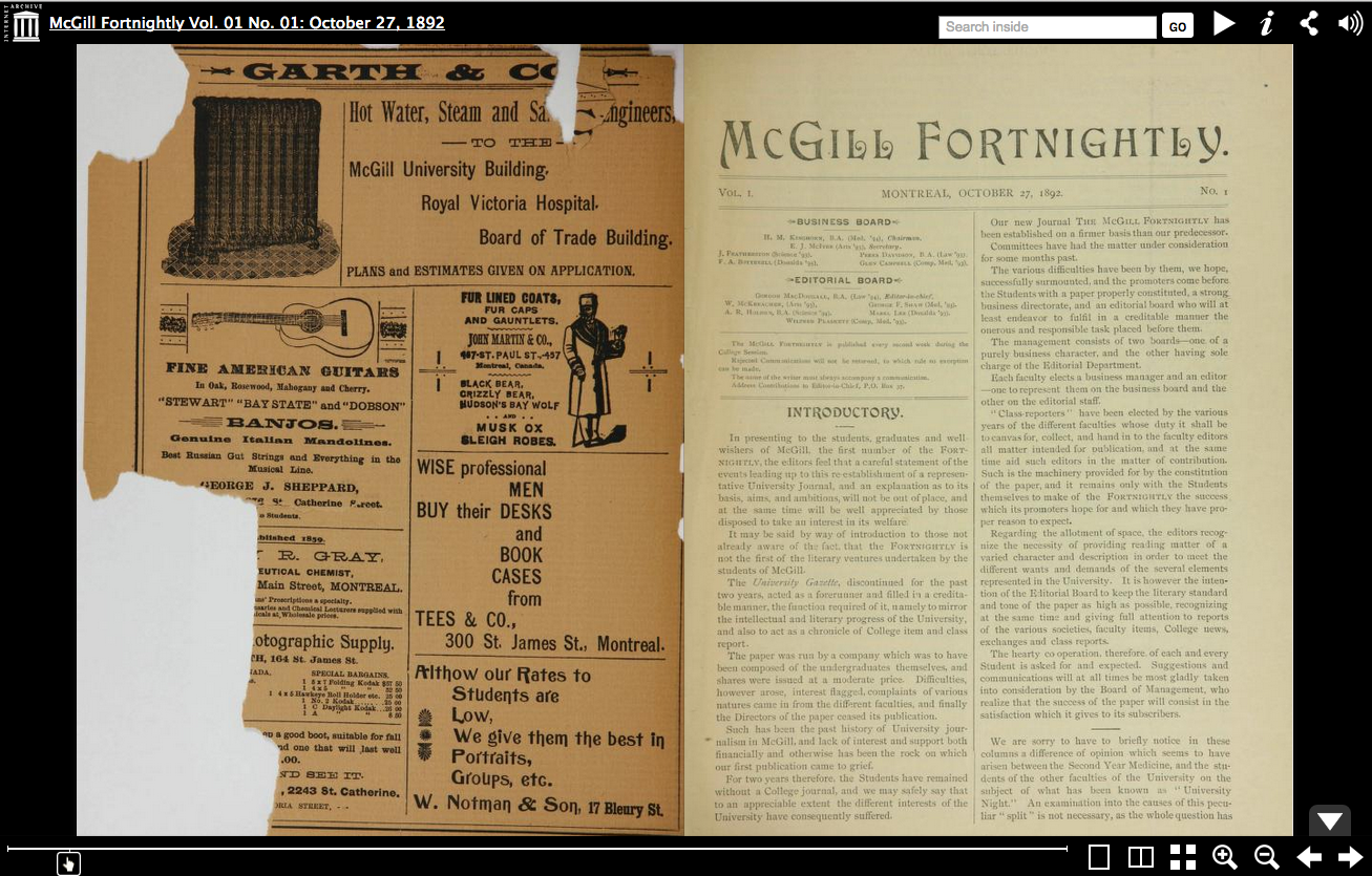 McGill Fortnightly Vol. 01 No. 01: October 27, 1892