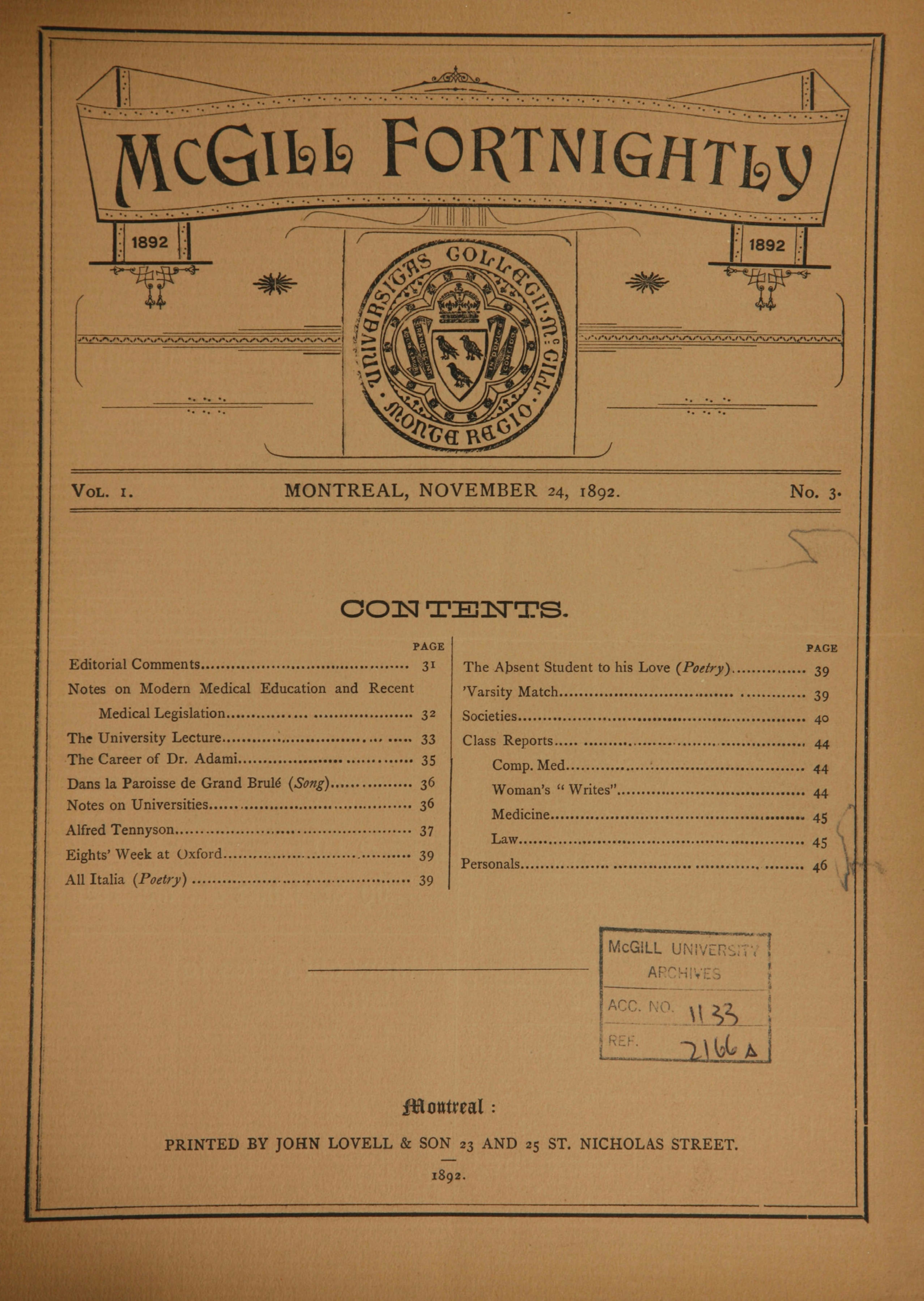 Cover of McGill Fortnightly Vol. 01 No. 03: November 24, 1892