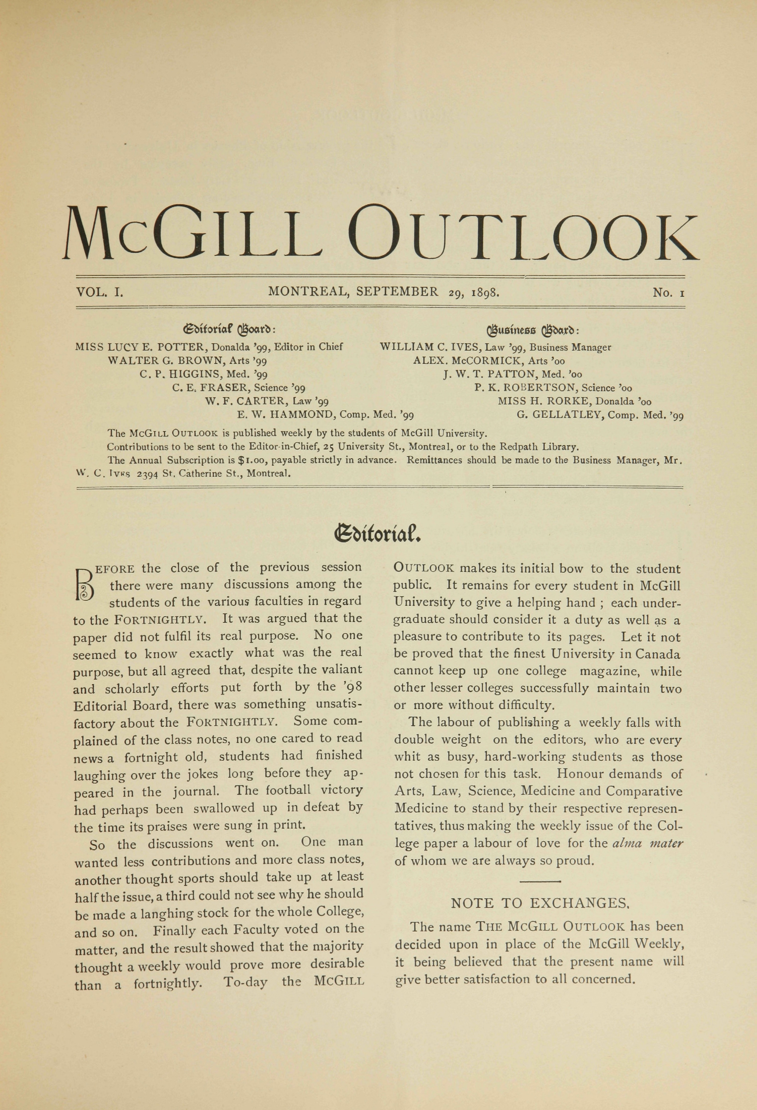 Front page of McGill Outlook Vol. 01 No. 01: September 29, 1898