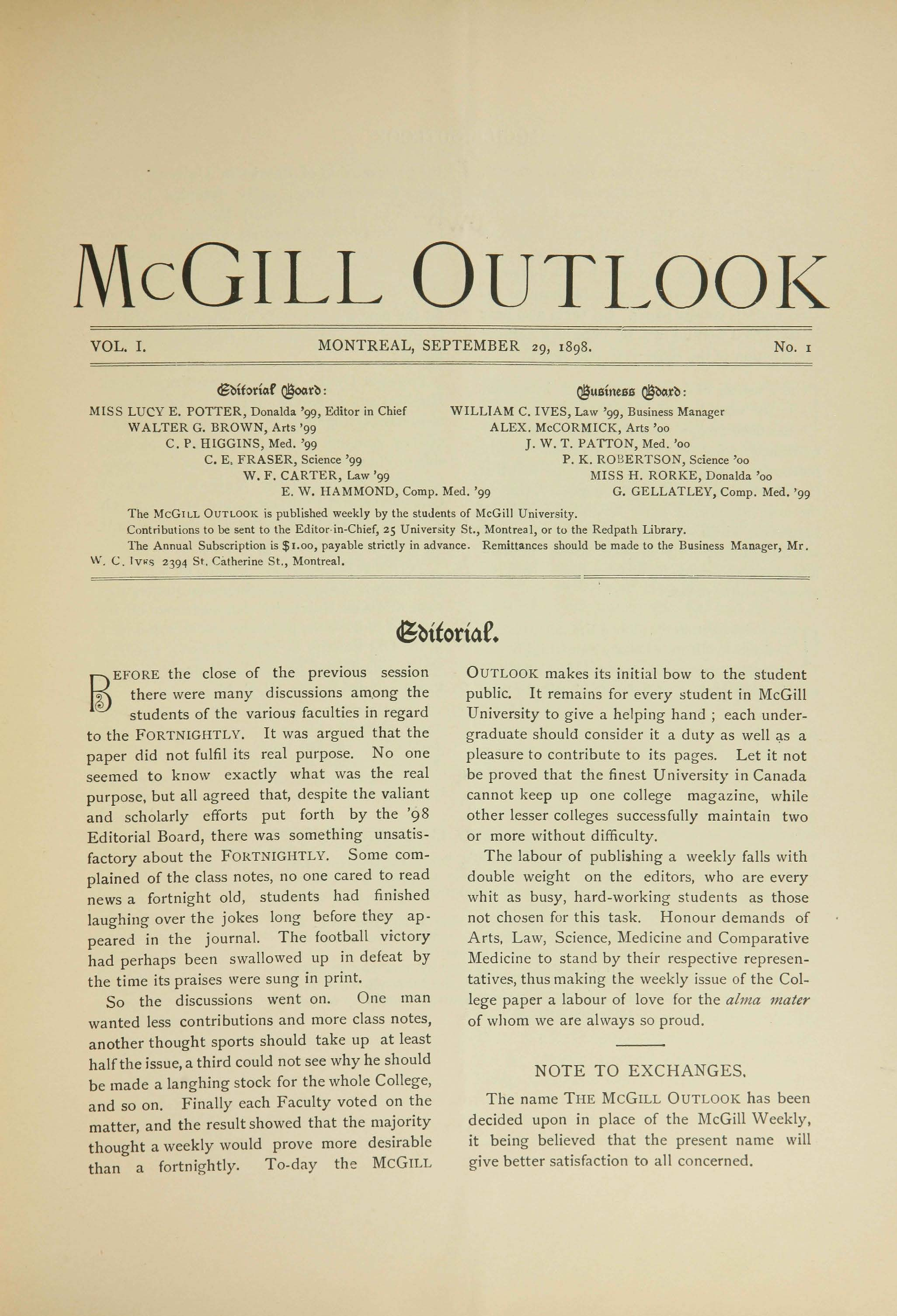 McGill Outlook Vol. 01 No. 01: September 29, 1898
