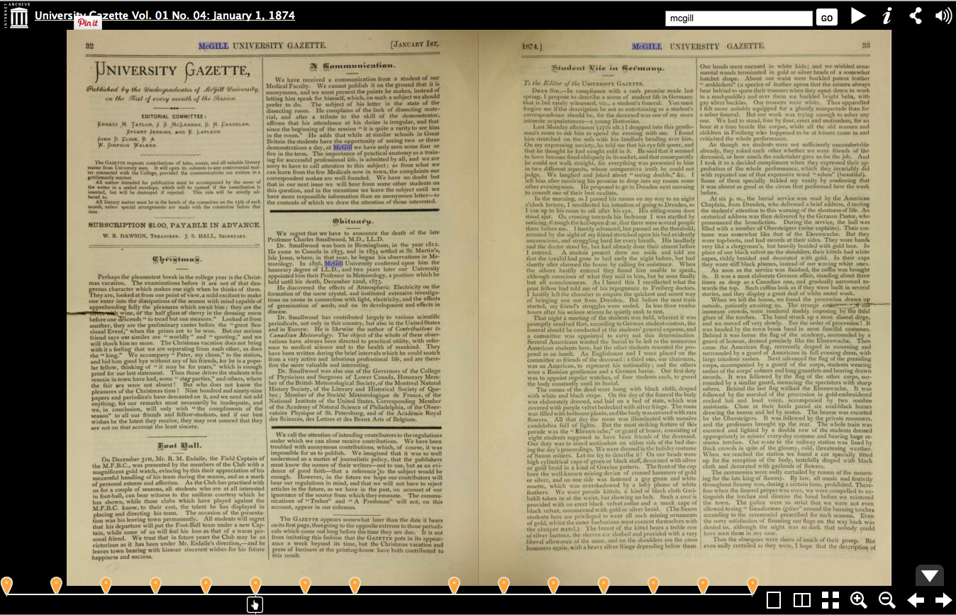 Searching for text inside the pages of the University Gazette Vol. 01 No. 04: January 1, 1874