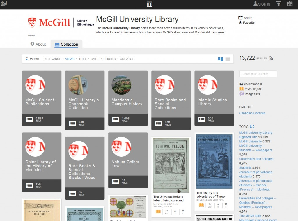 The McGill University Library Internet Archive collection