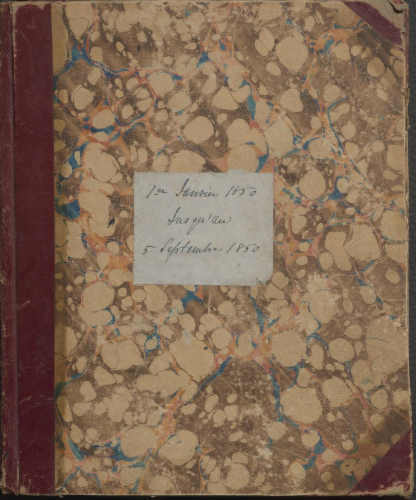 Mon journal, 1850 by Birranger, Marie-Angélique, dite Hay, flourished 1843-1872, author. Copy in McGill University's Rare Books and Special Collections, Manuscript Collection
