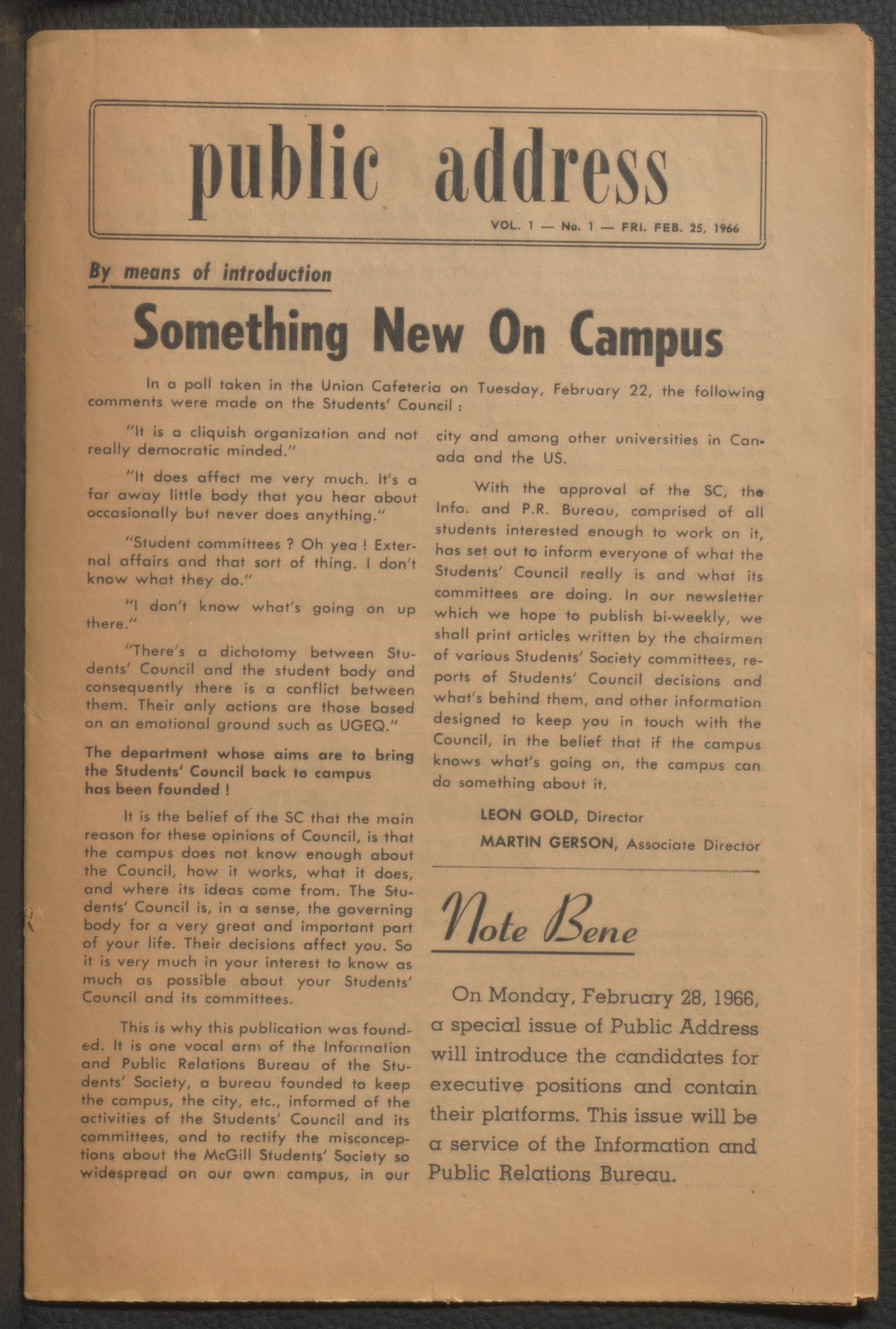 Cover page. Public address Vol. 01 No.001: February 25, 1966. McGill University.