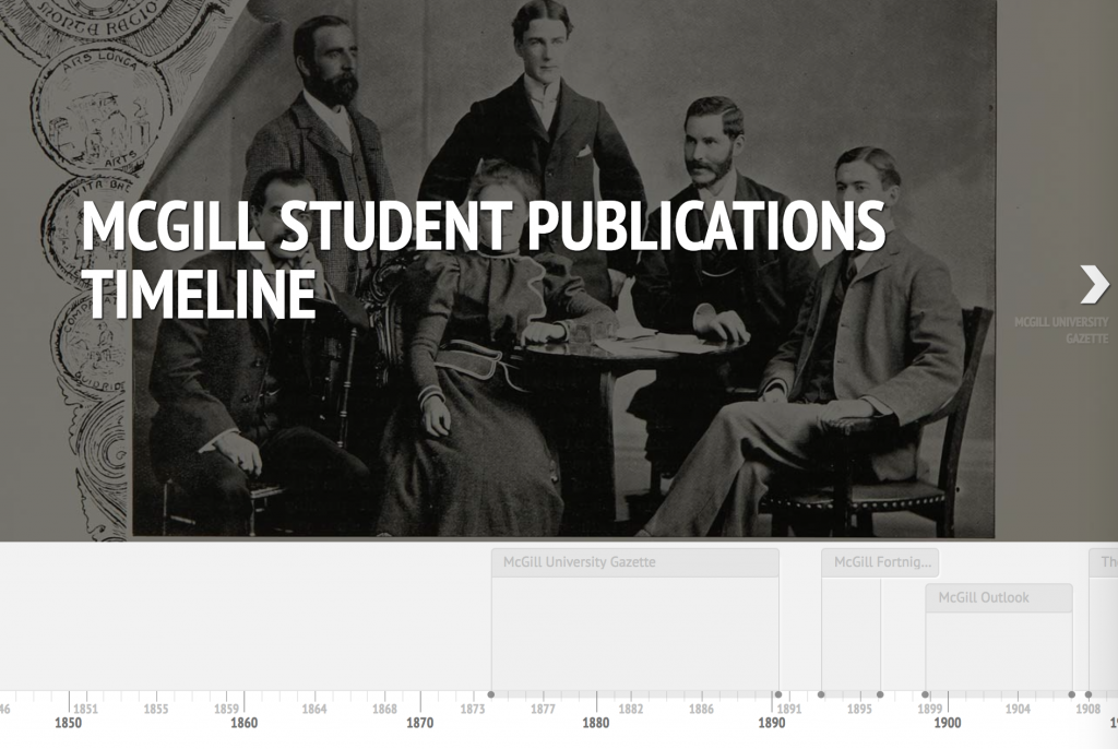 McGill Student Publications Collection timeline