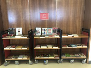 shelves of books from the food for thought display