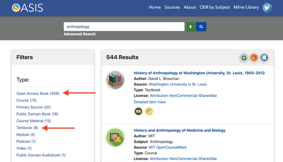 search platform with filters on right hand side pointing to type: open access book and textbook