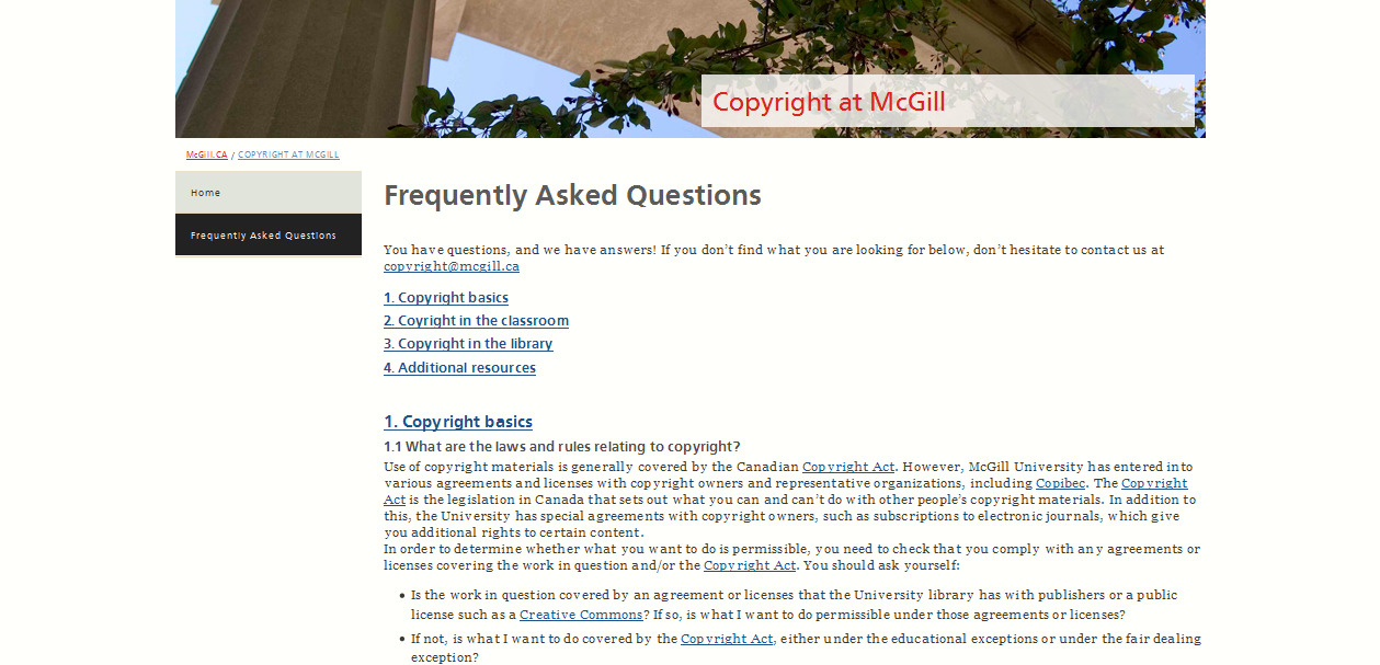 Frequently Asked Questions  Copyright at McGill - McGill University