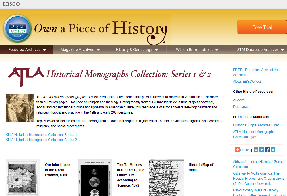ATLA Monographs  Featured Archives  Digital Archives  EBSCOhost(1)