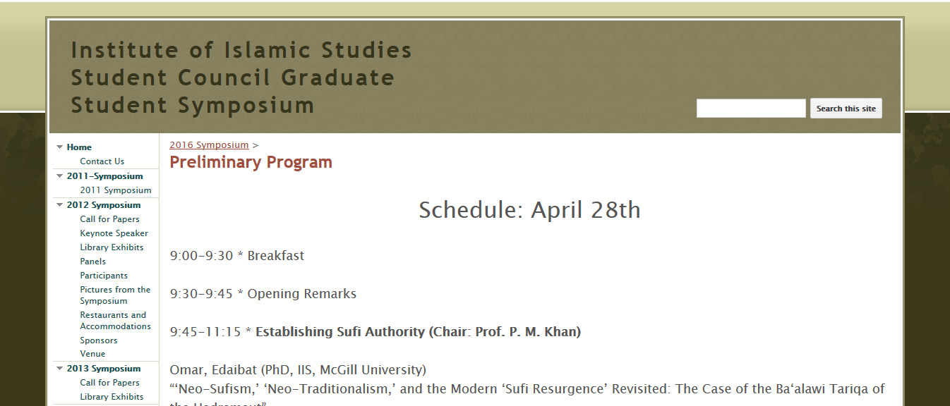 Preliminary Program - Institute of Islamic Studies Student Council Graduate Student Symposium