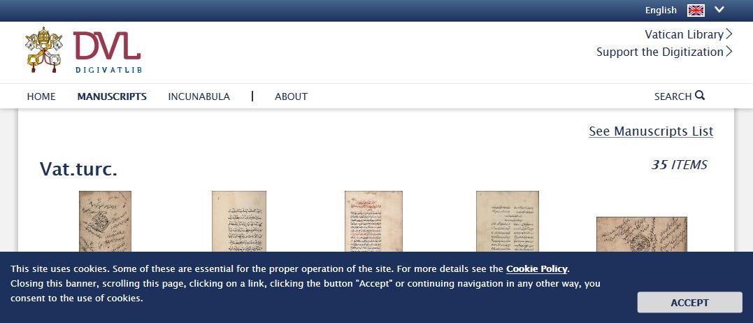 Digitized Manuscripts (Vat.turc.) DigiVatLib