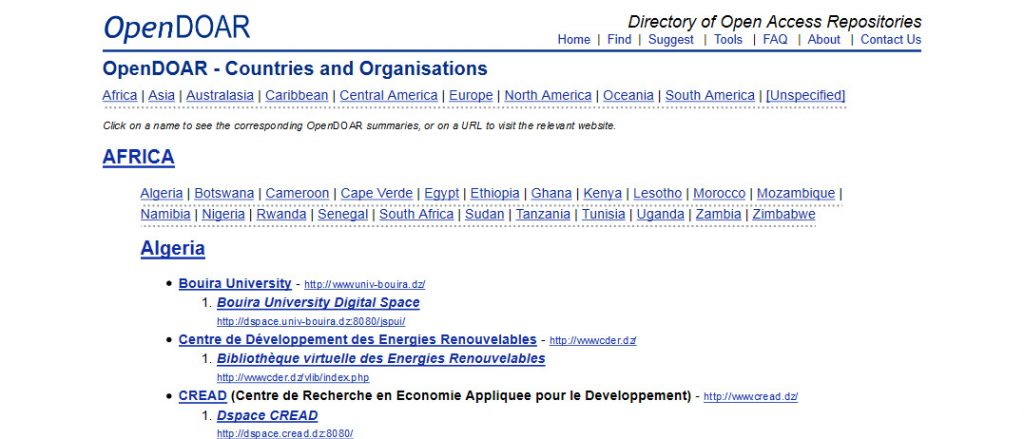 OpenDOAR - Open Access Countries and Organisations - africa