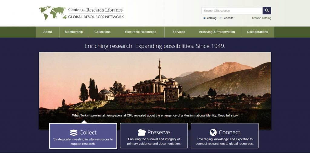 Center for Research Libraries. Enriching Research. Expanding Possibilities. Since 1949. CRL
