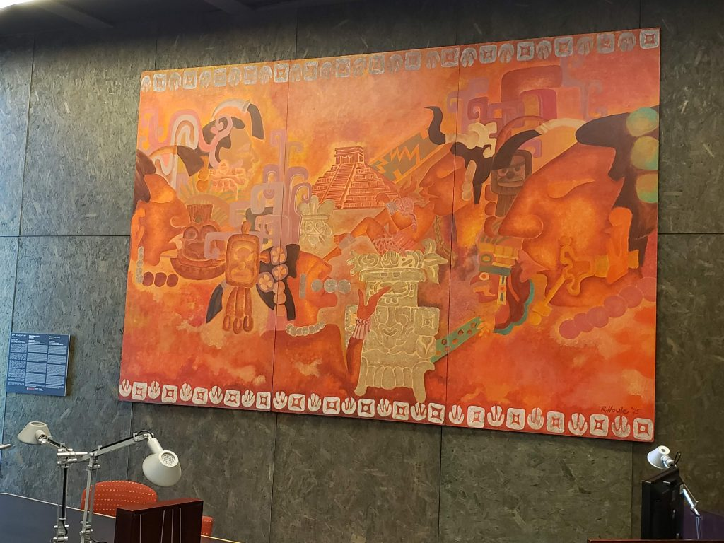Untitled Robert Houle mural on exhibit in Nahum Gelber Law Library