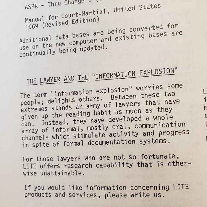 "The Lawyer and the ""Information Explosion"""