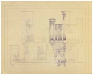Redpath Hall Organ, McGill University, Montreal, PQ: Front and side view with cross section